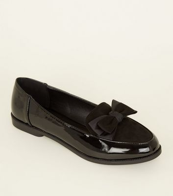 Black Patent and Suedette Bow Front Loafers