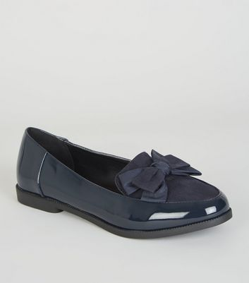 Navy Patent and Suedette Bow Front Loafers