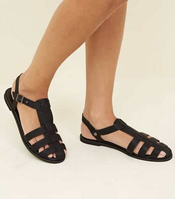Black Leather-Look Caged Closed Toe
