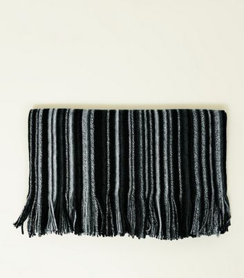 Black Stripe Knit Scarf