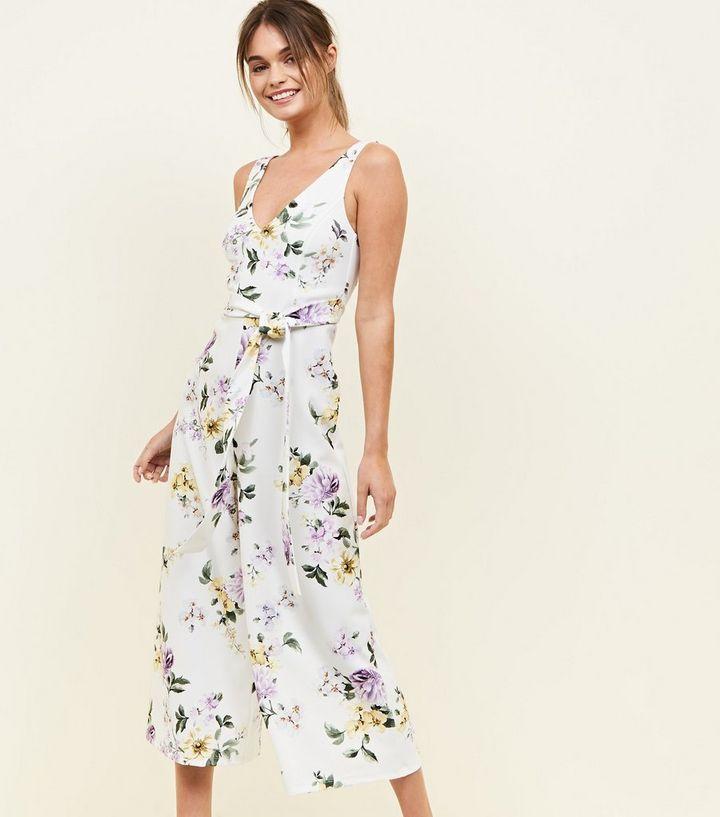 cc88bb0a80d1 White Floral Tie Front Culotte Jumpsuit