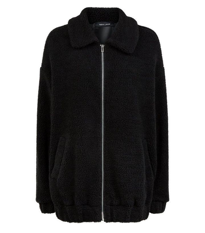 5ab2984d575 Black Faux Teddy Fur Bomber Jacket   New Look