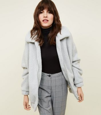 Grey Faux Teddy Fur Bomber Jacket