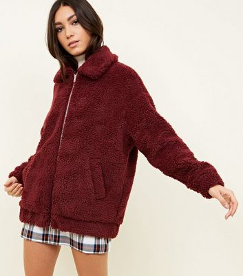 Burgundy Faux Teddy Fur Bomber Jacket