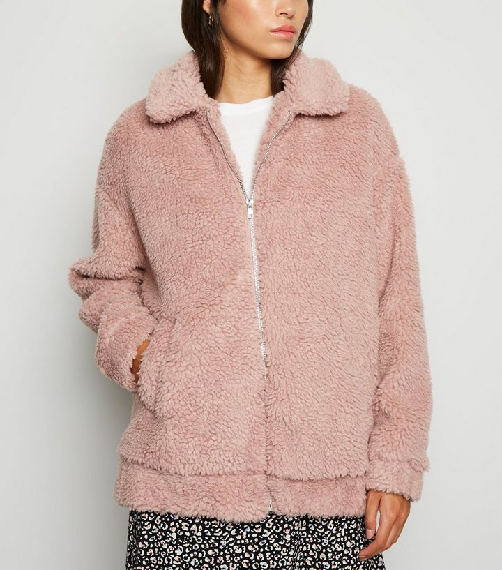 b958e0b9c6d Pink Faux Teddy Fur Bomber Jacket | New Look