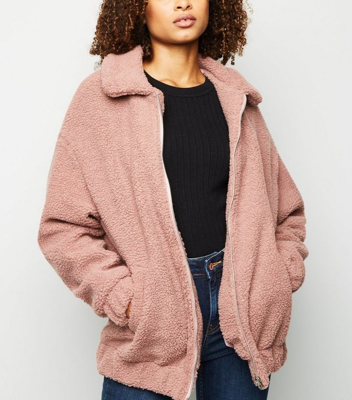 e367b6dffa2 Pale Pink Faux Teddy Fur Bomber Jacket | New Look