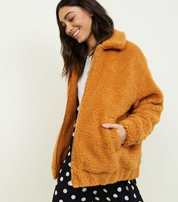 Mustard Faux Teddy Fur Bomber Jacket