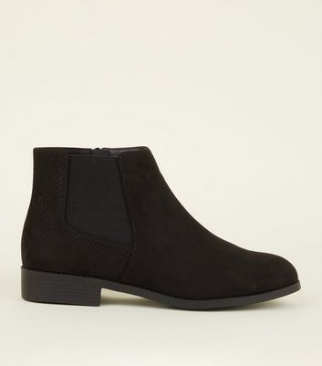 Wide Fit Black Faux Snake Panel Chelsea Boots