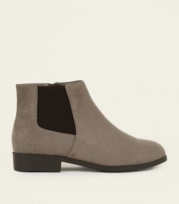 Wide Fit Grey Faux Snake Panel Chelsea Boots