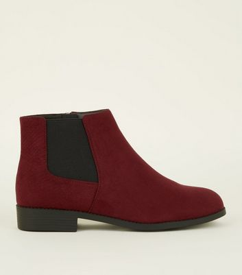 Wide Fit Dark Red Faux Snake Panel Chelsea Boots