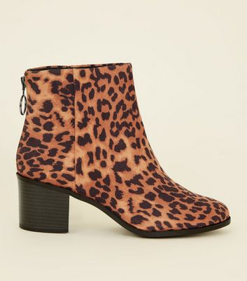 Wide Fit Tan Suedette Leopard Print Ankle Boots