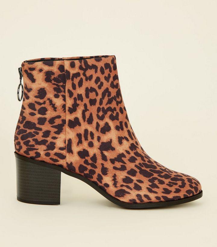 80bc26f48156 Wide Fit Tan Suedette Leopard Print Ankle Boots