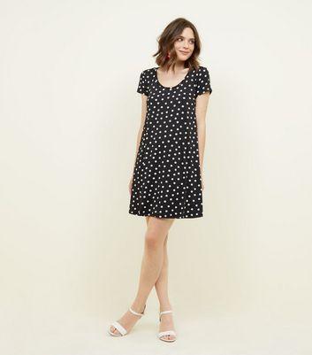Brave Soul Black Polka Dot Dress New Look
