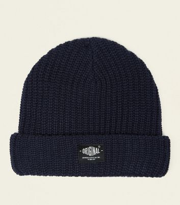 Navy Badge Front Beanie