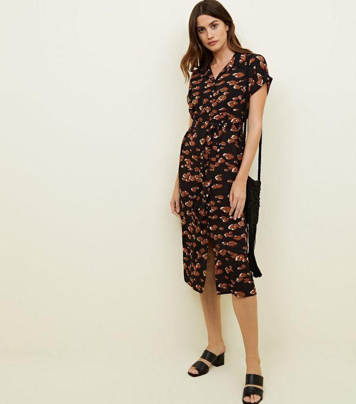 Black Leopard Print Midi Shirt Dress  1cea9f5f0