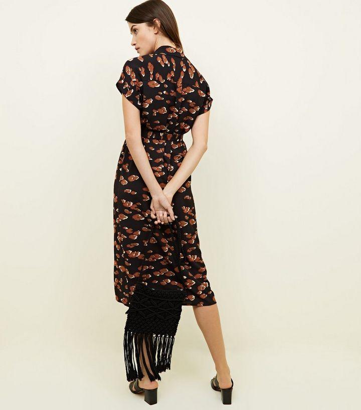 Black Leopard Print Midi Shirt Dress | New Look