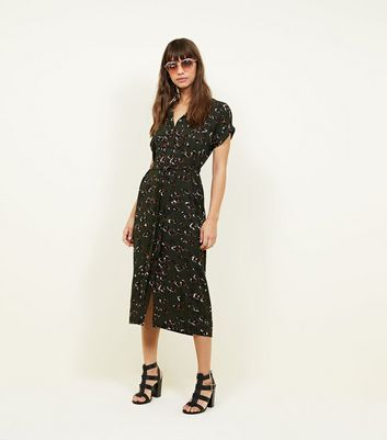 Dark Green Leopard Print Midi Shirt Dress