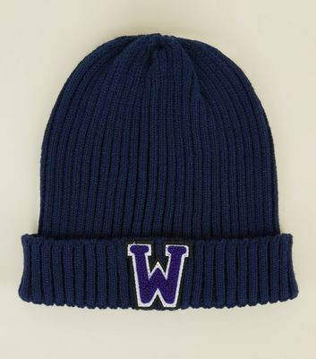 Navy W Badge Front Beanie