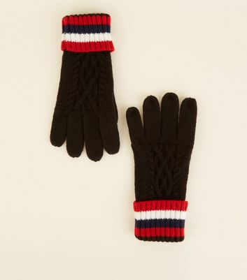 Black Stripe Cuff Cable Knit Gloves
