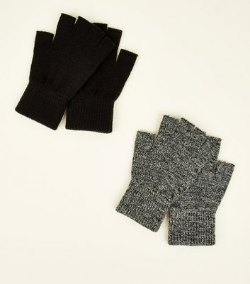 2 Pack Black Marl Men's Fingerless Gloves