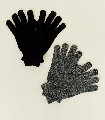 2 Pack Black Marl Men's Touch Screen Gloves