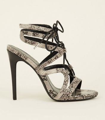 Black Faux Snake Stiletto Ghillie Sandals