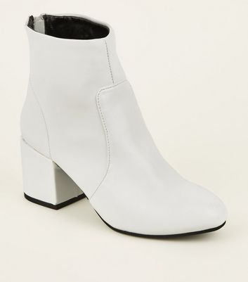 White Block Heel Ankle Boots   New Look