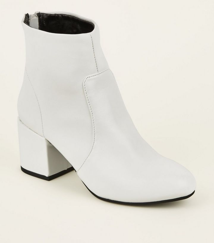 166c3a87087 White Block Heel Ankle Boots | New Look