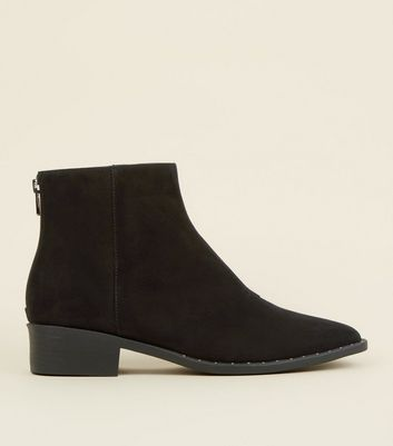 Black Suedette Stud Trim Pointed Ankle Boots