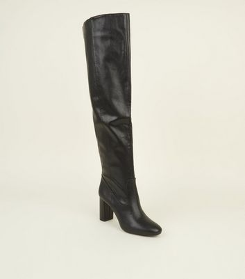 Black Slouch Thigh Length Heeled Boots