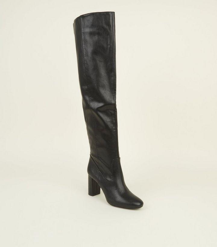 c5722db597a Black Block Heel Over the Knee Boots
