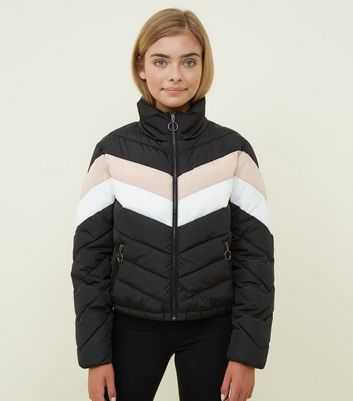 Girls Black Colour Block Puffer Jacket
