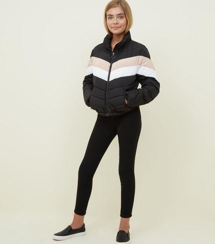 001f82595 Girls Black Colour Block Puffer Jacket