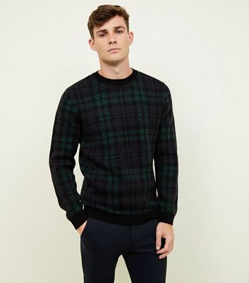 Navy Check Crew Neck Knitted Jumper