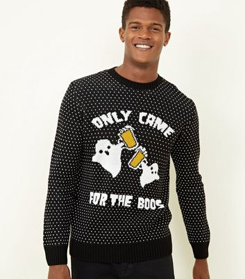 Pull noir pour halloween à slogan Only Came For The Boos