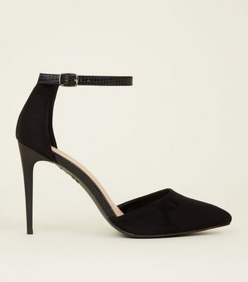 Black Suedette Faux Snake Strap Pointed Court Shoes
