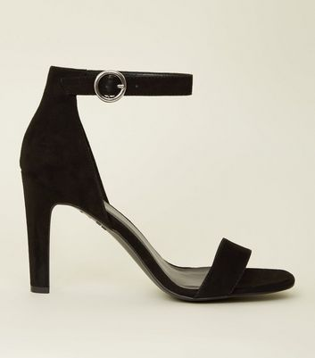 Black Suedette Circle Buckle Two Part Sandals