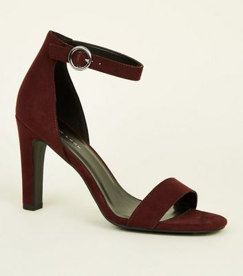 Dark Red Suedette Circle Buckle Two Part Sandals
