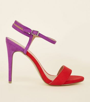 Purple and Red Suedette Strap Stilettos