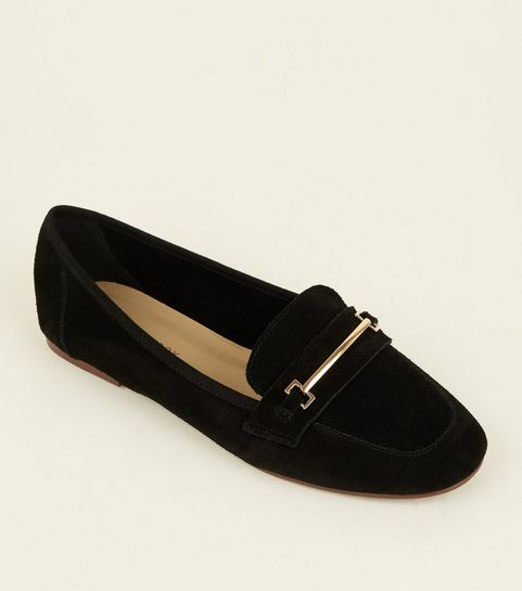 46a6e75ba626 ... Black Suede Front Bar Loafers ...