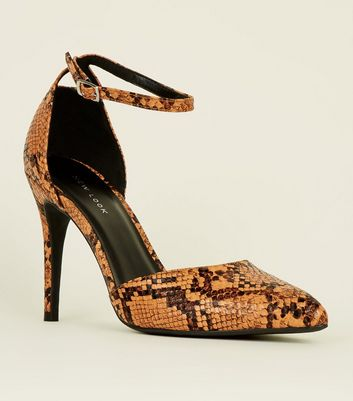 Orange Faux Snake Two Part Pointed Heels