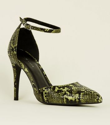Yellow Faux Snake Two Part Pointed Heels