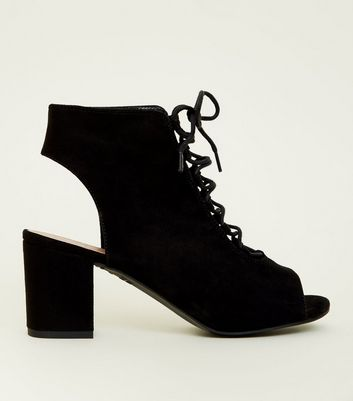 Girls Black Suedette  Lace Up Peep Toe Boots by New Look