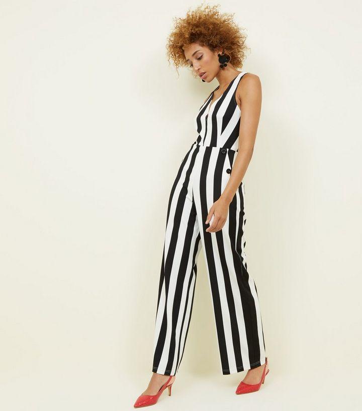 4a18e7793042 Cameo Rose Black Stripe Button Side Jumpsuit