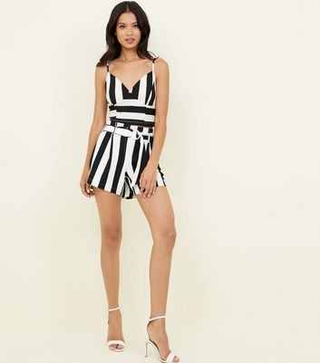 Cameo Rose Black Stripe Tie Waist Shorts