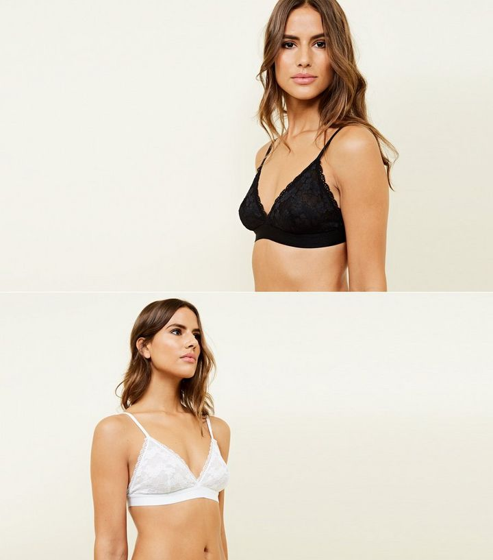 af1c9b267cf956 2 Pack Black and White Lace Bralettes