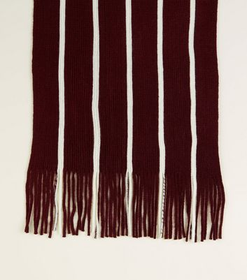 Burgundy Stripe Knit Scarf