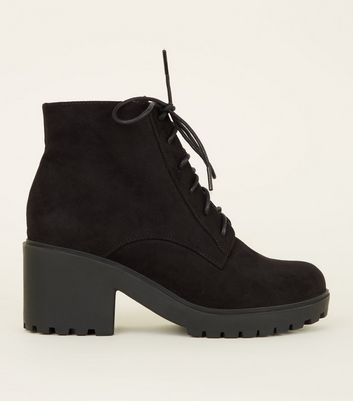Girls Black Suedette Chunky Heel Lace Up Boots