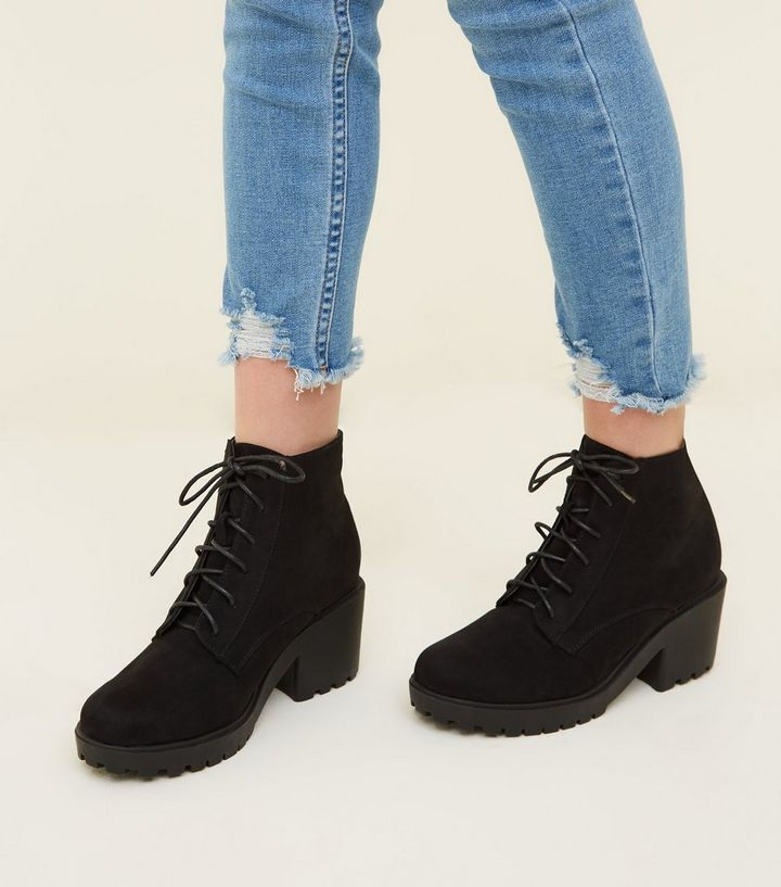 72d6b3feb848 ... Girls Black Suedette Chunky Heel Lace Up Boots. ×. ×. ×. Shop the look