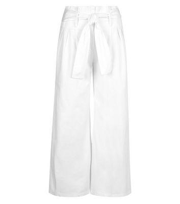Innocence White Tie Waist Trousers New Look